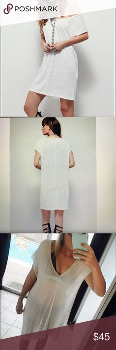 Free People Sheer Tunic This tunic is one of my favorites from FP! Bought it as a swim cover but it could go as a long t shirt as well. Very light fabric and flows nicely. Color is white/ivory. Sold out in all FP stores get it while you can ☀️🌺 Free People Tops Tunics