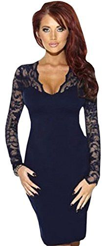 Women's Bodycon Lace V-neck with Long Sleeves Dress Navy (SMALL, Navy Blue) Unomatch http://www.amazon.com/dp/B00V88GW14/ref=cm_sw_r_pi_dp_rpLvvb0ZQ2CVN