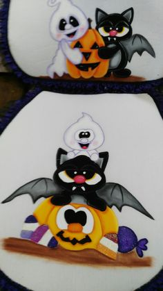 Calabaza con amigos. Halloween Cut Outs, Fall Halloween, Halloween Crafts, Halloween Party, Seasonal Decor, Fall Decor, Imprimibles Halloween, Moldes Halloween, Halloween Painting
