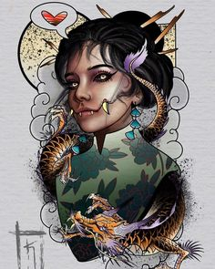 Traditional Tattoo Woman, Traditional Tattoo Design, Cool Sketches, Tattoo Sketches, Japanese Geisha Tattoo, Geisha Tattoo Design, Face Tattoos For Women, Dark Art Drawings, Oriental Tattoo