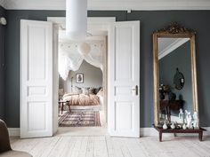 my scandinavian home: A Swedish Home With The Loveliest Earthy Blue Walls Wall Mirrors With Storage, Big Wall Mirrors, Wall Mirrors Entryway, Lighted Wall Mirror, Living Room Mirrors, Mirror Bedroom, Mirror Set, Diy Mirror, Farmhouse Wall Mirrors