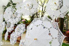 2016 Multicolor Radius:48cm Handmade Embroidered Cotton Lace Parasol Sun Umbrella Wedding Bridal Party Decoration Gift Supplies