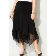 Avenue Plus Size Lace Trim Handkerchief Skirt ($45) ❤ liked on Polyvore featuring skirts, black, plus size, plus size long skirts, elastic waist skirt, long midi skirt, plus size knee length skirts and pull on skirt