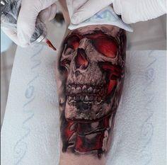 Evil Tattoos, Badass Tattoos, Skull Tattoos, Forearm Tattoos, Body Art Tattoos, Tattoos For Guys, Skeleton Tattoos, Tattoo Son, Demon Tattoo