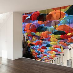 Umbrellas In Madrid Wall Mural Decal; Walls Need Love $318