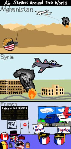 Air strikes around the world ( USA, Russia, France ) by PopeInnocentXIV #polandball #countryball