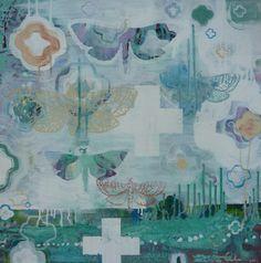 'Moth Magic', mixed media on canvas, 800/800mm. Soft textural dream-like.  www.raewest.co.nz