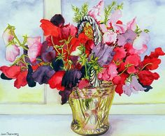 Joan Thewsey - Sweet Peas in a Vase (w/c on paper)  http://www.art-prints-on-demand.com/a/thewsey/sweetpeasinavasewconpaper.html