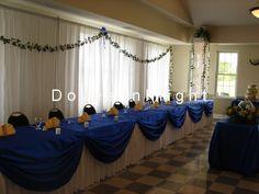 black and royal blue wedding theme head table - Google Search