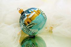 GLASS CHRISTMAS ORNAMENT Winter castle by Bettineum on Etsy