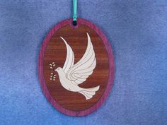 Wood Inlay Christmas Ornament - Dove by EzMarquetry on Etsy
