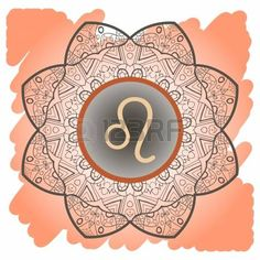 zodiac sign Leo  What is karma  Vector circle with zodiac signs on ornate wallpaper  Oriental mandala motif square lase pattern, like snowflake or mehndi paint  Watercolor elements on background photo