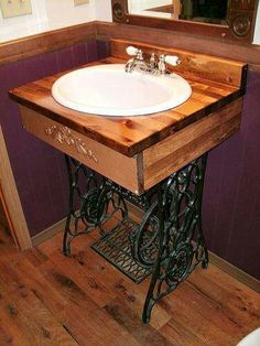 Sewing machine up-cycle bathroom sink.