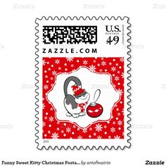 Merry Christmas. Funny Sweet Kitty with Christmas Bauble design Christmas Postage Stamps. Matching cards, postage stamps and other products available in the Christmas & New Year Category of the artofmairin store at zazzle.com