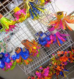 3rd grade paper Chihuly hanging sculptures in progress! Working hard, ready to curl paper! 5th grade paperchandeliers. Paper, pa...