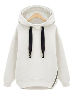 Casual Solid Color Elastic Drawstring Zipper Decorated Long Sleeves Hoodie For…