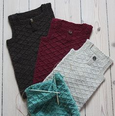 A note: It can also be knit in sock yarn, but will turn out one size smaller than the size you are knitting. The yardage is the same.