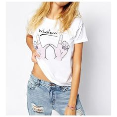 Whatever Boyfriend T-Shirt (22 CAD) ❤ liked on Polyvore