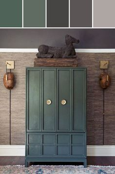 Dark Jade Green Cabinet Designed By Lisa Perrone | Stylyze Creative Director via Stylyze