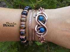 Men Infinity chain links braceletMen blue agate copper