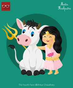 Illustration : Shailputri avatar of maa Durga