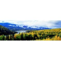 Panoramic View Of A Landscape Yukon River Alaska USA Canvas Art - Panoramic Images (36 x 12)