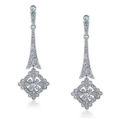 Bling Jewelry Art Deco Floral CZ Chandelier Bridal Earrings  #BlingJewelry, #Fashion, #Jewelry, #JewelryEarrings