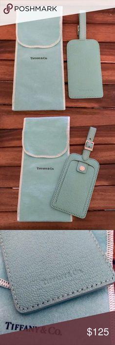 17a382a02 🆕Listing! Tiffany Luggage Tag Tiffany blue leather luggage tag that hides  your address in