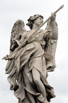 Italian Art ~ Bernini's marble statue of angel with spear from the Sant' Angelo Bridge in Rome, Italy. Cemetery Angels, Cemetery Art, Caravaggio, Statues, Bernini Sculpture, Roman Sculpture, Gian Lorenzo Bernini, Rome Tours, Vatican Tours