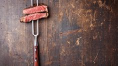 Download wallpaper fork, meat, wood, roasted, food resolution 1366x768