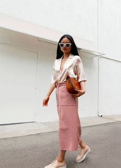 Dusty rose pencil skirt.