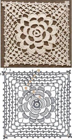 Crochet Wrap Pattern, Crochet Flower Tutorial, Crochet Square Patterns, Crochet Blocks, Crochet Stitches Patterns, Crochet Diagram, Crochet Chart, Crochet Squares, Crochet Motif