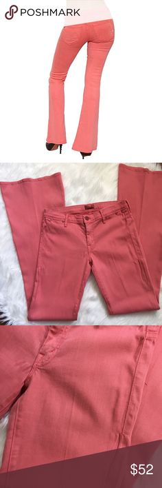 Mother the Curfew in Dye-Brink Pink flare jeans Mother the Curfew in Dye-Brink Pink flare jeans. 70% lyocell, 28% cotton, 2% elastane. Super soft to the touch and pretty peachy pink in color. Some wear including a couple snags and stretch in the tight area. Overall very good used condition with lots of life left. Approx measurements taken flat: 36in inseam, 8.5in rise, 15in waist, and 11.5in leg opening at hem. Four pocket style. Signature M on back pockets. Low rise and fitted thru knee…