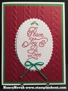 #PeacethisChristmas Stampin Up Peace this Christmas stamp set.  Pretty sentiment and font. Details on my blog.