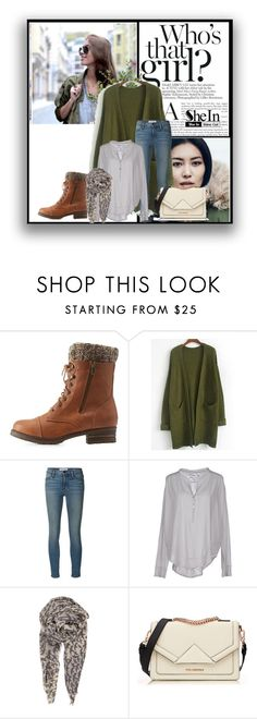 """""""Army green coat"""" by dzena-05 ❤ liked on Polyvore featuring Charlotte Russe, H&M, Frame Denim, 81 Hours, BeckSöndergaard, Karl Lagerfeld and Diane James"""