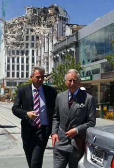 Prince Charles, right, walks in front of one of the buildings being demolished after the Feb 2010 earthquake in Christchurch, NZ on 16 Nov 2012 New Zealand Earthquake, Earthquake And Tsunami, Nz History, New Zealand Cities, Christchurch New Zealand, Prince Charles And Camilla, 2nd City, British Monarchy