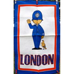Items similar to Vintage London Bobby Policeman Souvenir Blue & Red Tea Towel Ulster Irish Linen Unused on Etsy Vintage London, Retro Vintage, London Souvenirs, Cute Cartoon Images, Class Decoration, Tea Towels, Bobby, Graphic Art, Linens