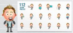 A chubby businessman character made in a style. This cartoon business character is available in a set of 112 poses that are perfect for any commercial and personal projects.