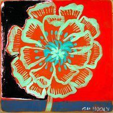 "BARBARA GILHOOLY 'BLOOMERS' Botanical Paintings acrylic on birch, 8"" x 8"", $225."