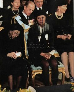 Funeral of Prince Bertil of Sweden. Queen Ingrid of Denmark (his sister) and crown princess Victoria of Sweden. Behind them Prince Philip, Duke of Edinburgh. Princess Victoria Of Sweden, Crown Princess Victoria, Queen Silvia, Queen Elizabeth, Funeral, Queen Of Sweden, Swedish Royalty, Prince Philip, Duke And Duchess