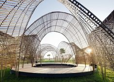 nArchitects' Forest Pavilion in Taiwan is made from freshly-cut bamboo and features a series of parabolic arches