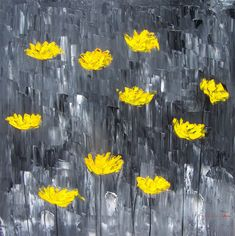 Paintings by Monica Fallini: Yellow poppies on gray abstract art - week # 37