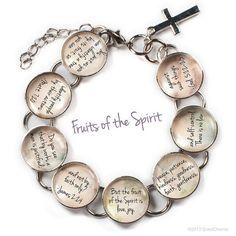 "Fruits of the Spirit Glass Charm Bible Verse Bracelet, 6.75""-8.75"" on Etsy, $22.00"