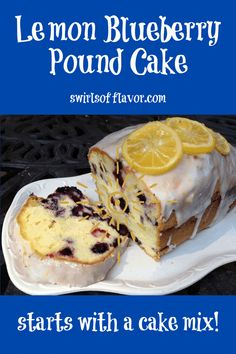 Our Lemon Glazed Blueberry Pound Cake starts with a cake mix. Sour cream adds moistness and a citrus lemon glaze is the crowning glory. #blueberry #poundcake #swirlsofflavor