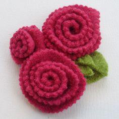 Wool felt flower brooch