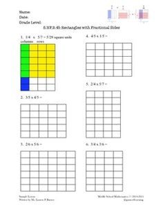 Grade 5 Fractional Side Lengths of a Rectangle (CCLS-aligned) Math Multiplication Worksheets, Maths, Text Features Worksheet, Fraction Word Problems, Math Coach, Common Core Math Standards, Math About Me, 5th Grade Math, Printable Worksheets
