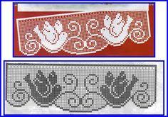 Lace Edging Crochet Patterns Part 9 - Beautiful Crochet Patterns and Knitting Patterns Filet Crochet Charts, Crochet Borders, Cross Stitch Charts, Cross Stitch Patterns, Knitting Patterns, Crochet Patterns, Wiggly Crochet, Crochet Cord, Thread Crochet