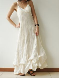 Jelly Fish.....Cotton long dress - White Summer. $40.50, via Etsy. Love the texture and the shape of the bottom.