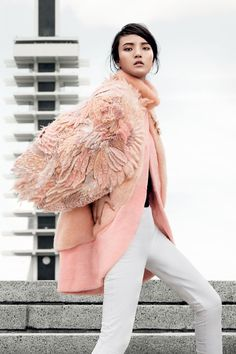 fendi haute fourrure | Multicolour mink and feather wings coat by Fendi Haute Fourrure.