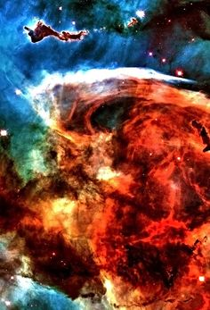 Carina nebula. A portion of the Keyhole (the dark mass on the bottom), and on the top left, one of many dense molecular clouds of gas and dust beingsimultaneously compressed by the hot gases surrounding them, and ionized by the intense ultraviolet radiation from nearby stars.